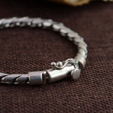 Real 925 Sterling Silver Bracelet Twist Braided Cord Link