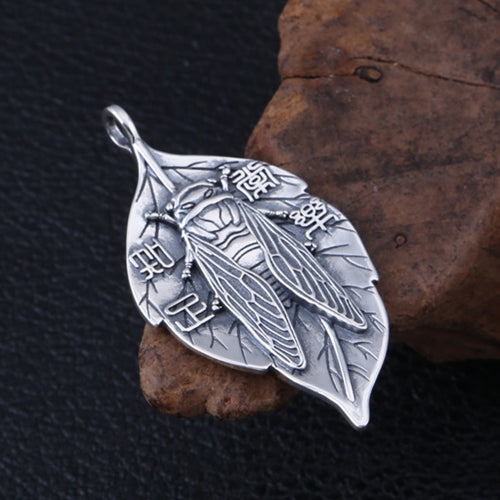 Real 925 Sterling Silver Pendant Leaf Cicada Jewelry