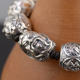 Real 925 Sterling Silver Bracelet Guandi War god Four-sacred-animal Link