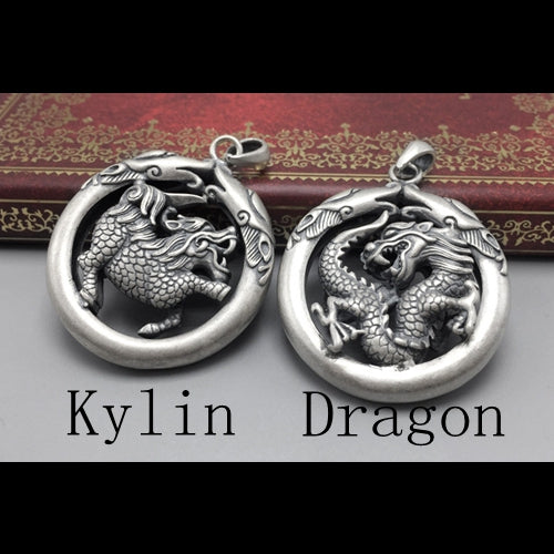 Real 925 Sterling Silver Pendant Kylin Dragon
