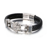 Men 316L Stainless Steel Bracelet Link Lion Wolf Leather Braided 8.3""