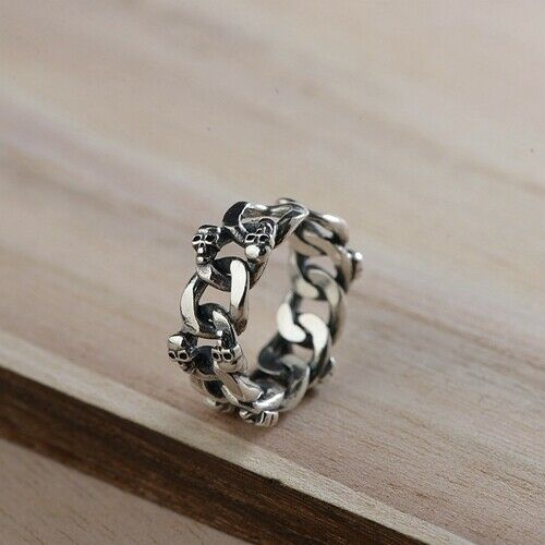 Real 925 Sterling Silver Ring Skull Loop Link Open Size 8 9 10 11 12