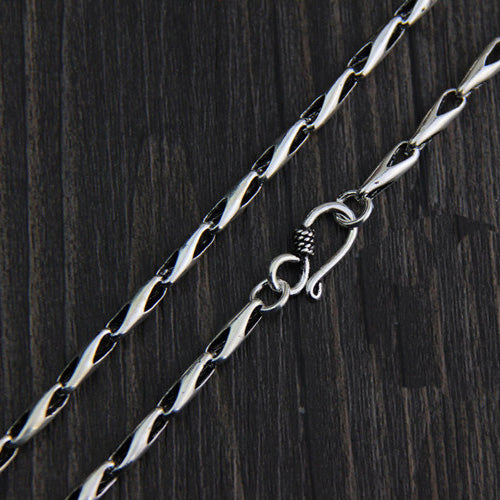 Genuine Solid 925 Sterling Thai Silver Melon Seeds Chain Men's Necklace18