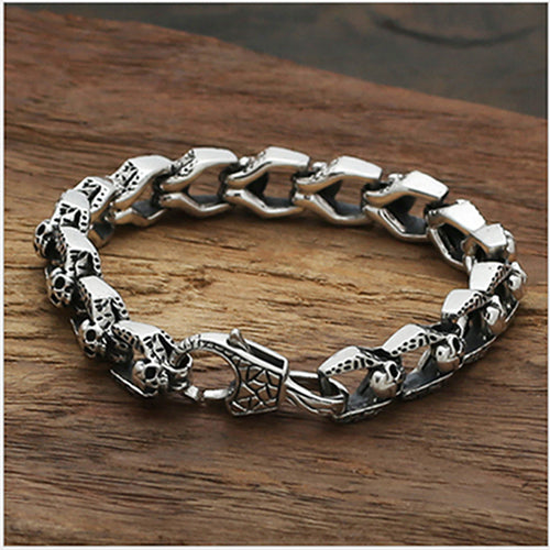Real 925 Sterling Silver Bracelet Link Chain Skull Heavy Men's Length 7.9