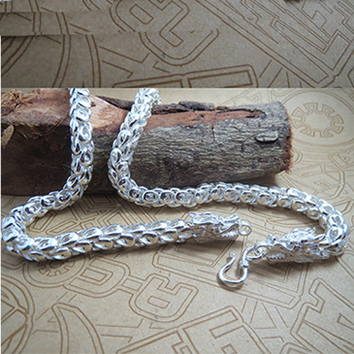 8mm Genuine Solid 925 Sterling Thai Silver Dragon Chain Men's Necklace 20