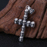 Real 925 Sterling Silver Pendant Skull Cross Jewelry