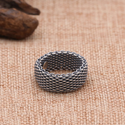 Men's Solid 925 Sterling Thai Silver Ring Braided Hemp Vines Size 8 9 10 11