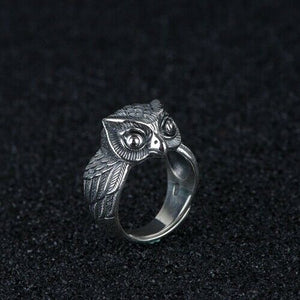 Real 925 Sterling Silver Ring Owl Eudemon Open Size 8 9 10 11 12