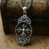 Real 925 Sterling Silver Pendant Rotatable Cross Vajra