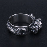Mens Fine Solid 925 Sterling Thai Silver Dragon Ring Adjustable Size 8 9 10