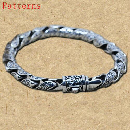 Real 925 Sterling Silver Bracelet Flower Pattern
