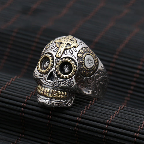 Men's Solid 925 Sterling Silver Ring Skull Size 8 to 13