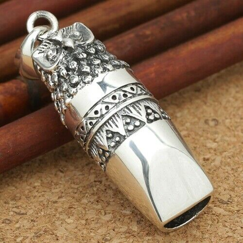 Real 925 Sterling Silver Pendant Owl Whistle