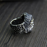 Heavy Solid 925 Sterling Thai Silver Ring Mythical Monkey King Mens Open Size 9 to 12