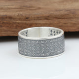 Real 999 Pure Silver Ring Lection Buddhist Scripture Size 5 6 7 8 9 10 11 12 13