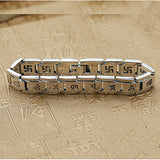 Real 925 Sterling Silver Bracelet Link Chain Buddha Lection Heavy Men's 8.3""