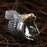 Men's Solid 925 Sterling Thai Silver Ring Gold Eagle Adjustable Size 8 9 10 11