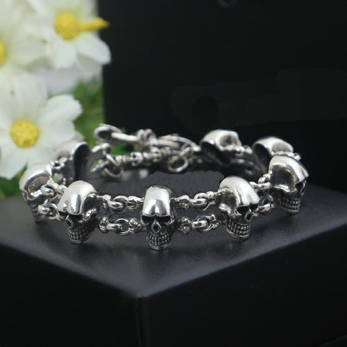 Men's Real 925 Sterling Silver Bracelet Link Chain Skull Loop Jewelry 9.1