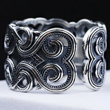 Real 925 Sterling Silver Ring Decorative Pattern Flower Open Size 8 9 10 11