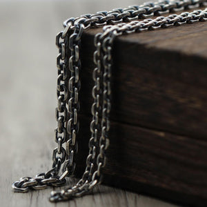"Real Solid 925 Sterling Thai Silver Classical Cuboid Chain Men Necklace 18""-32"""