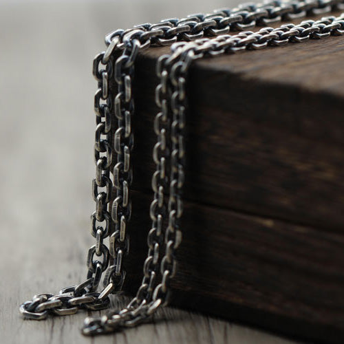 Real Solid 925 Sterling Thai Silver Classical Cuboid Chain Men Necklace 18