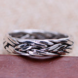 Solid 925 Sterling Thai Silver Ring Braided Men Women Size 6 7 8 9 10