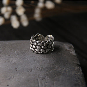 Men's Women's Solid 925 Sterling Thai Silver Ring Wide Braided Open Size 6 to 12