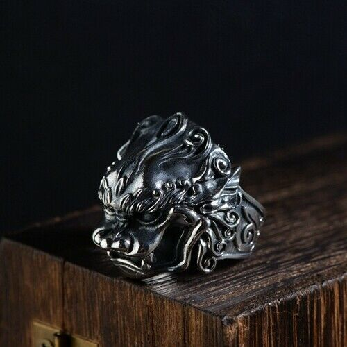 Real 925 Sterling Silver Ring Pi Xiu Mythical Animal Open Size 8 9 10 11 12