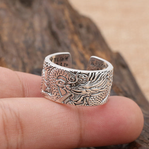 Men's 990 Pure Sterling Thai Silver Ring Fairy Dragon Open Size 7 8 9 10