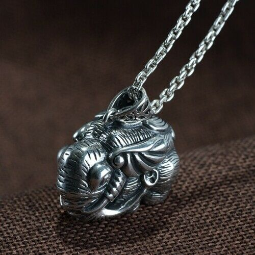 Real 925 Sterling Silver Pendant Elephant