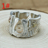 Real 925 Sterling Silver Ring Angel's Wings Horseshoe Open Size 9 10 11 12