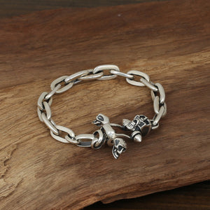 Men's Solid 925 Sterling Silver Bracelet Link Skull Loop Chain Jewelry