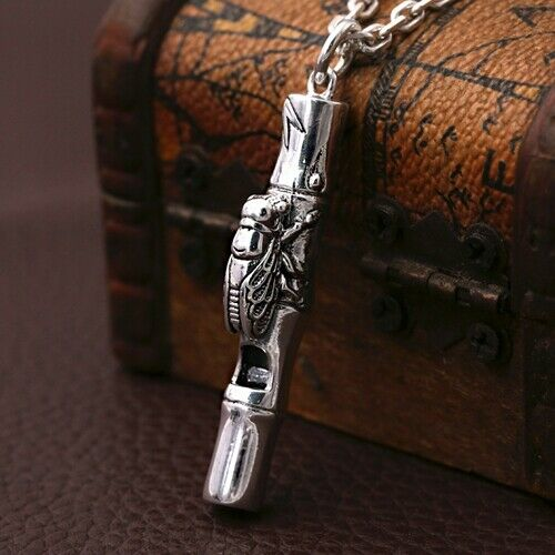 Real 990 Sterling Silver Pendant Whistle Cicada Bamboo