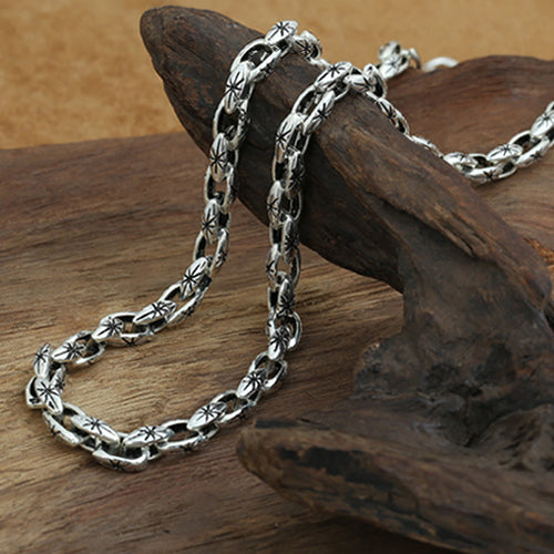 Real Solid 925 Sterling Thai Silver Necklace Sun Star Loop Link Chain Men's 22