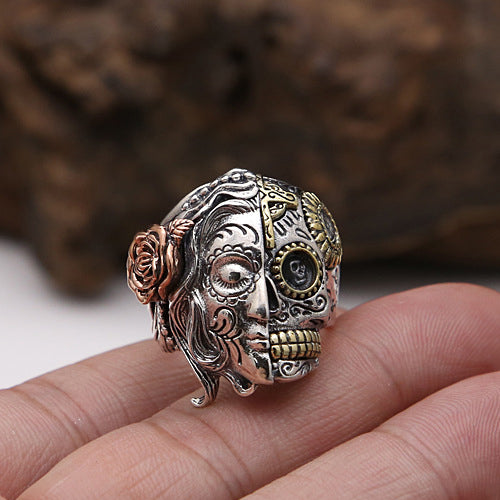 Heavy Solid 925 Sterling Thai Silver Fine Ring Double Skull Men's Size 8 9 10 11