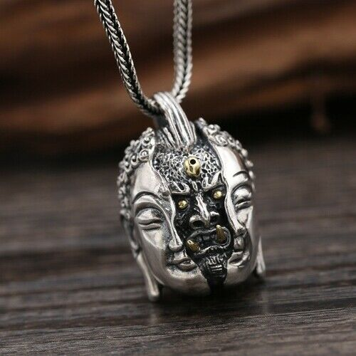 Real 925 Sterling Silver Pendant Buddha-Devil Good-and-Evil