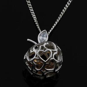 SOLID 925 STERLING SILVER 3D APPLE PENDANT HEART WITH CUBIC ZIRCON NECKLACE