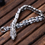 Real 925 Sterling Silver Bracelet Link Dragon Scales Bones Chain