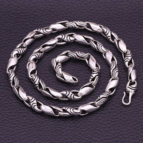 Huge Heavy Real 925 Sterling Thai Silver S Twist Chain Men's Necklace 20