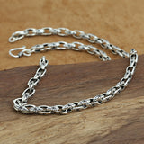 Real Solid 925 Sterling Thai Silver Necklace Sun Star Loop Link Chain Men's 22""
