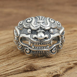 Brave Beast  King 925 Sterling Solid Thai Silver Mens Ring Size 8 9 10 11