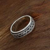 Men 925 Sterling Solid Thai Silver Ring Lucky Braided Rotation Size 7.5 to 11.5
