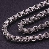 "Real 925 Sterling Thai Silver Stripe Loop Chain Men's Heavy Necklace 8mm 20""-26"""