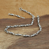 "Solid 925 Sterling Thai Silver Hollow Bucket Knot Chain Men's Necklace18""-24"""