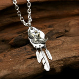 Real 925 Sterling Silver Pendant Eagle Feather Sun