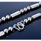 Solid 925 Sterling Silver Ball Angle Canister Chain Polished Men's Necklace 22""