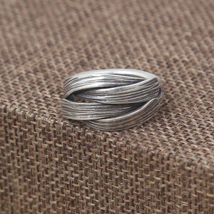 Men Women Solid 925 Sterling Silver Ring Braided Adjustable Size 6 7 8