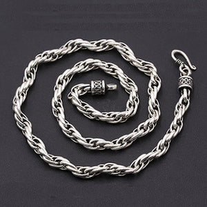 "Real Solid 925 Sterling Thai Silver Vines Cane Chain Men's Heavy Necklace18""-24"""