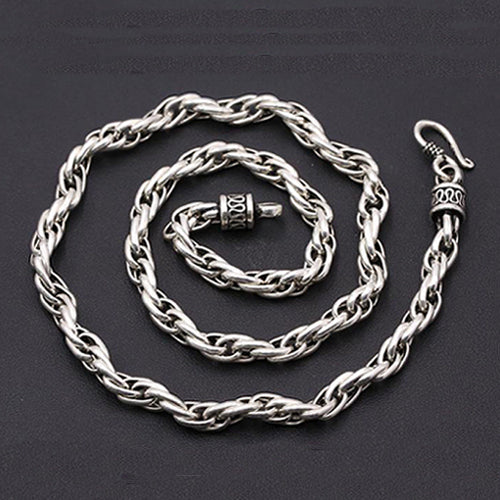 Real Solid 925 Sterling Thai Silver Vines Cane Chain Men's Heavy Necklace18