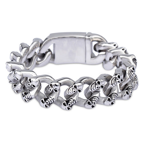 Punk Men 316L Stainless Steel Bracelet Skull Fashion Link Personality 8.9